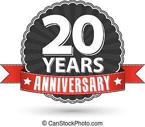 20 years anniversary retro label with red ribbon, vector illustration