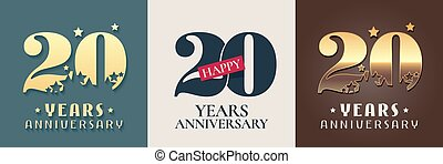 20 years anniversary set of vector icon, symbol, logo