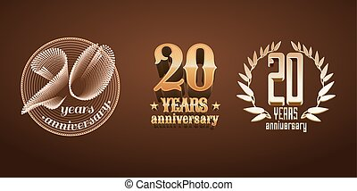 20 years anniversary set of vector logo, icon, number