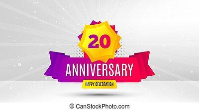 20 years anniversary. Twenty years celebrating. Vector