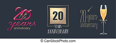 20 years anniversary vector icon, logo set