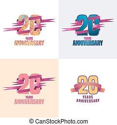 20 years anniversary vector icon set