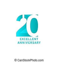 20 Years Excellent Anniversary Vector Template Design illustration