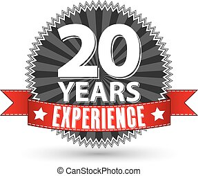 20 years experience retro label with red ribbon, vector illustration