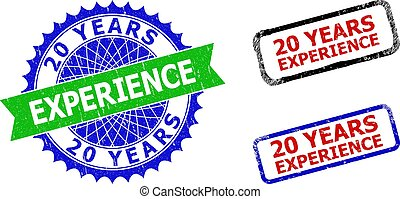 20 YEARS EXPERIENCE Rosette and Rectangle Bicolor Seals with Unclean Textures