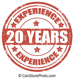 20 Years Experience-stamp - Grunge rubber stamp with text 20...
