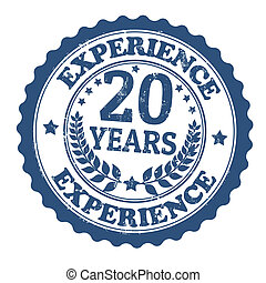 Grunge rubber stamp with the text 20 Years Experience written inside, vector illustration