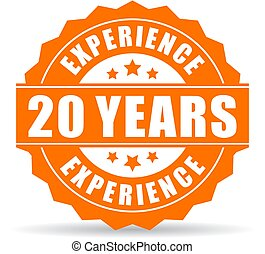 20 years experience vector icon isolated on white background