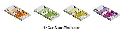 200, 500, 100, billets banque, piles, blanc, vue, fond, isométrique, euro, 50.