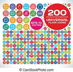 200, ensemble, uni, universel, 2, icône