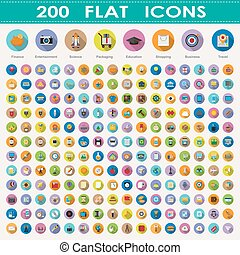 200 flat icons collection .Elements of this image furnished...