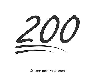 200 - hundred number vector icon. Symbol isolated on white background