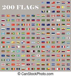 200, komplet, bandery, świat