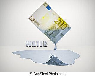 200, note, gouttes, eau douce, euro