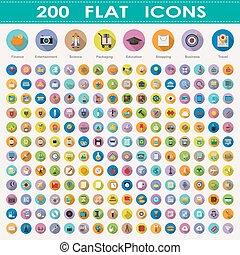 200, płaski, zbiór, ikony