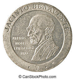 200 spanish pesetas coin isolated on white background depicting jacitno benavente - awarded Nobel Prize for Literature in 1922