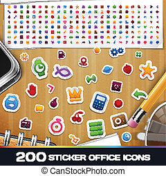 200 Sticker Universal Icons Set 2