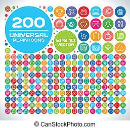 200, universeel, set, vlakte, pictogram