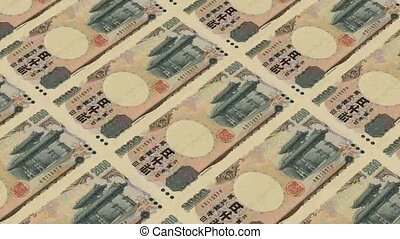 2000 japanese yen,Printing Money Animation.