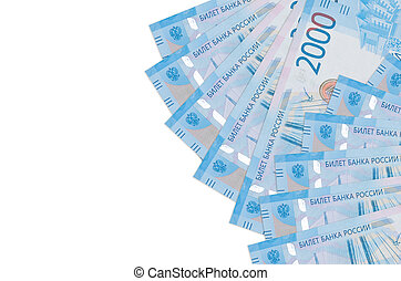 2000 russian rubles bills lies isolated on white background with copy space. Rich life conceptual background