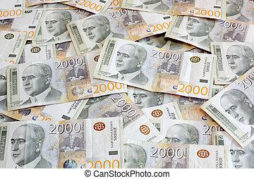 2000, serbian, dinar, sedlar, hög