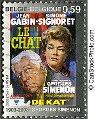 """2003:, cat"""", georges, alkotott, bélyeg, poszter, -, 2003, cirka, nyomtatott, (1903-1989), belgium, """"the, simenon, látszik"""