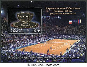 2003:, tasse, timbre, tennis, -, joueurs, russe, 2003, ...