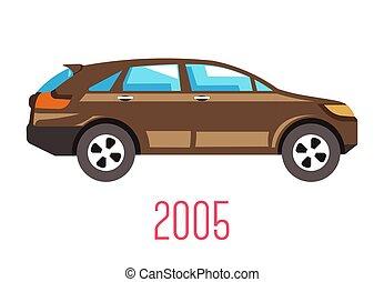 2005, veículo, isolado, ícone, carro modelo, hatchback