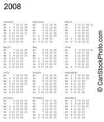 2008., calendrier, lundi, premier