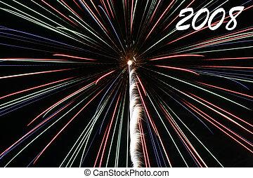 2008 Fireworks - 2008 exploding fireworks at night.