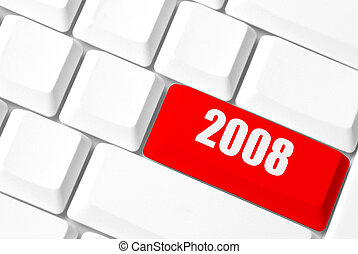 2008 - new year concept with white key-board