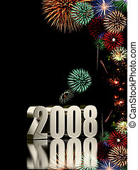 2008 plate - 2008 year with fireworks isolated on black...