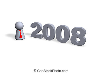 2008 text in 3d and play figure with red tie