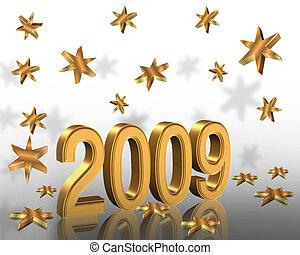 2009, ano, ouro, 3d, novo
