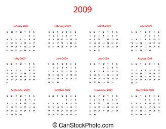 2009, calendrier