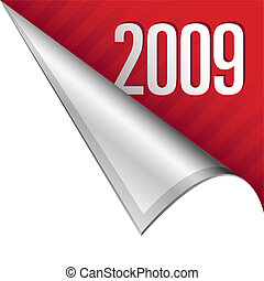 2009 corner tab - 2009 calendar year icon on vector peeled...
