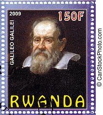 2009:, environ, exposition, timbre, siècle, -, célèbre, astronome, rwanda, imprimé, 16-17, galileo, italien, 2009, galiley
