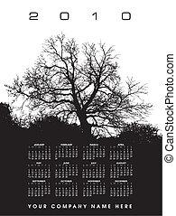 2010, 矢量, 日曆, 樹