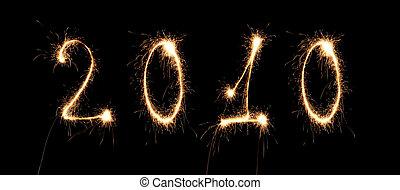 2010, ano novo, número, sparkler, colagem