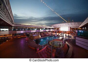 2010, april, 游泳, -, 巡航, newest, 船, 14, 池, gulf., 波斯人, deliziosa, costa, 海灣, 甲板, 14: