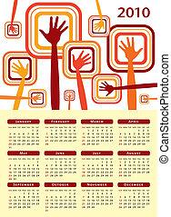 2010., calendário, desenho, mãos