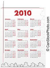 2010 Calendar with houses