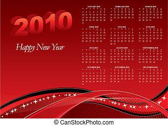 2010, calendrier, à, vagues rouges