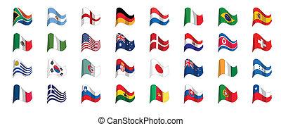 2010, dél-afrika, csésze, világ, lobogó, országok, ikonok