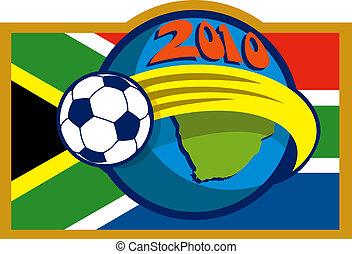 2010, futball, világbajnokság, noha, focilabda, fying, felett, földgolyó, noha, térkép, és, lobogó, közül, dél-afrika