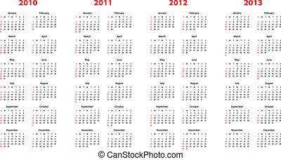 2010, genom, kalender, 2013