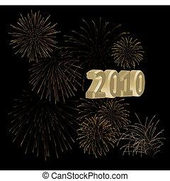 2010 + golden fireworks on a black background