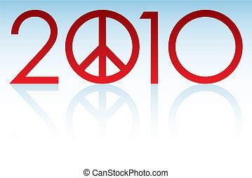 2010, paix, année, logo