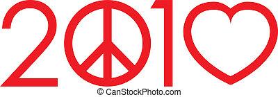 2010, pas, guerre, faire l'amour, logo, à, signe paix, et, coeur, -, vecteur