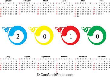 2010., söndag, kalender, första